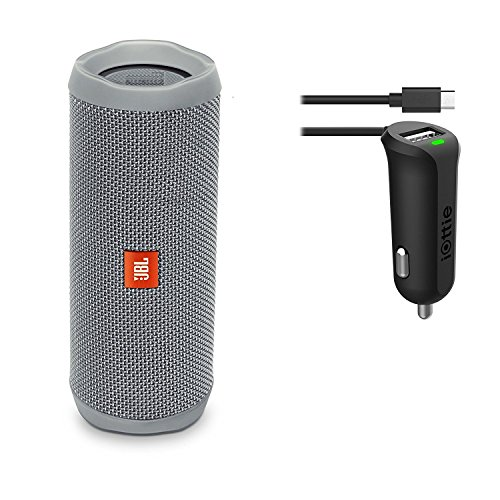JBL Flip 4 Waterproof Portable Bluetooth Speaker (Gray) & Car Charger Bundle