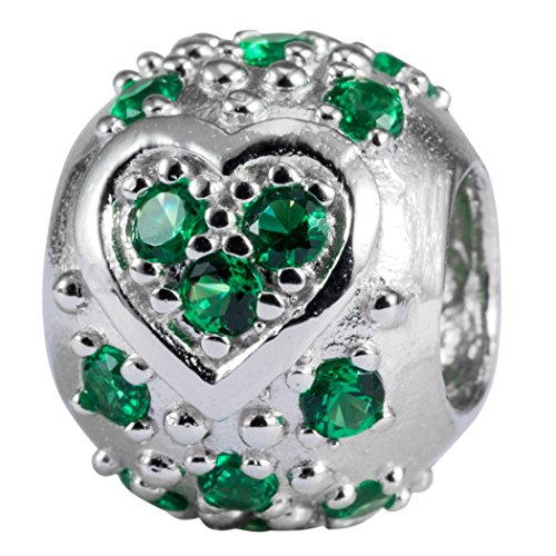 (Sterling Silver Heart Charm May Birthstone Bead Emerald Swarovski Crystal fits All Charm Bracelet Women Girls Mother's Gifts)