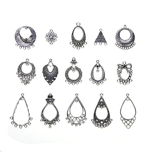 Vranky Pack of 60pcs Antiqued Tibetan Silver Earring Chandelier Earring Kit for Jewelry Making Earring Drop and Charm Pendant