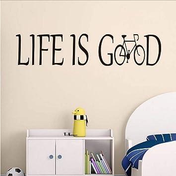 Life Is Good Vinilo Tatuajes De Pared Bicicleta Letras Arte Diseño ...