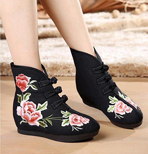 KHSKX-Die Stiefel Erhöhte Winter Baumwolle - Folk - Kaschmir - Stiefel Und Schuhe black