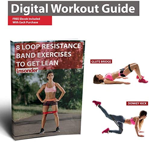 Insonder Resistance Bands - Latex Exercise Loop Bands for Workout and Stretching - Legs Butt Glutes Yoga Crossfit Fitness Physical Therapy Mini Home Equipment Women 5