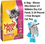 Meow Mix Kitten Li'l Nibbles Dry Cat Food, 3.15-Pound by Meow Mix (6 Pack + Free Toy)