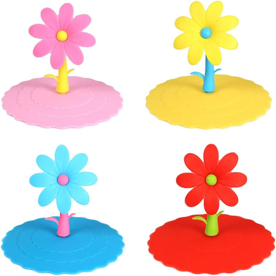 Honbay 4PCS Leakproof Cup Cover Anti-dust Silicone Cup Lids-Cute Flower