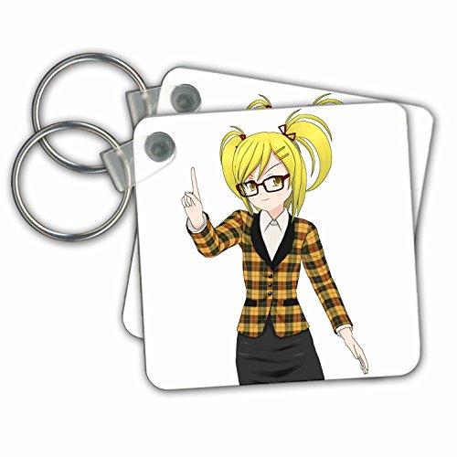 Sven Herkenrath Anime - Anime Manga Woman Girl with Glasses Cartoon Comic Character Japan - Key Chains - set of 2 Key Chains - With Cartoon Glasses Characters