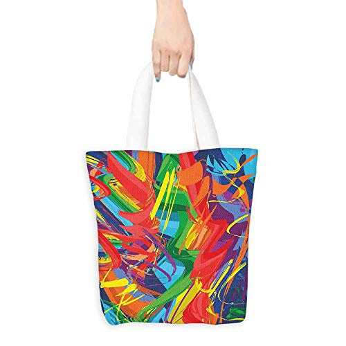 (Cosmetic bag,Rainbow Abstract Lively Rainbow Colored Modern Art Hand Drawn Brush Marks Free Spirit Print,Fits in Pocket Waterproof & Lightweight,16.5