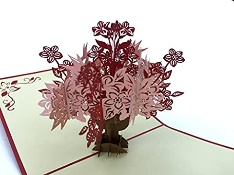 PopLife Flower Bouquet and Vase 3D Pop Up Greeting Card for All Occasions - Loved Ones, Romantics, Floral Lovers - Folds Flat for Mailing - Birthday, Graduation, Get Well, Anniversary, - Rose Bouquet Wedding Invitations