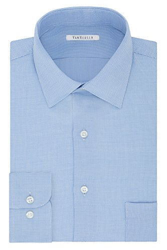Van Heusen Men's Regular Fit Micro Houndstooth Spread Collar Dress Shirt, Blue Wave, 17.5