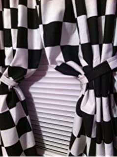 2 WINDOW CURTAIN PANELS MADE FROM COTTON Nascar Race Or Retro Diner Black And White Checkered