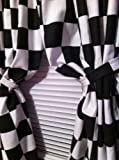 1 set of WINDOW CURTAIN PANELS MADE FROM COTTON Nascar Race or Retro Diner Black and White Checkered Flag FABRIC Each panel is 42