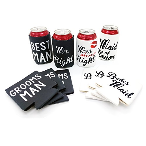 Mr. Right and Mrs. Always Right Wedding Party Can and Bottle Coolers, Neoprene Coolies for Cans (10 Pack) (Wedding Coozies)