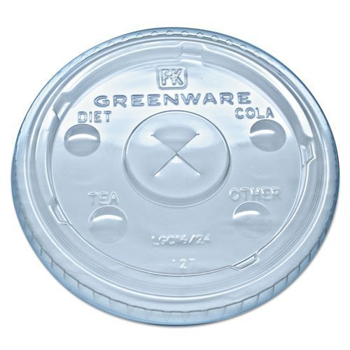 Fabri-Kal Greenware LGC16/24 Cold Drink Lids, Fits 16-18, 24 oz Cups, X-Slot, Clear - Includes 1000 lids.