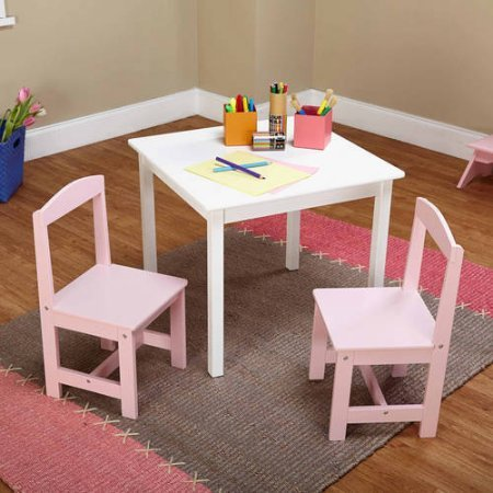 Hayden Kids 3-Piece White Wood Composite Table and Chairs Set (PINK WHITE)