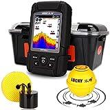 AZYJ Fish Finder, Waterproof Depth Detector Sonar Sensor Wireless/Wired Probe Showing Water Temperature