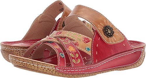 (L'Artiste by Spring Step Women's Style Leigh Red Multi EURO Size 39 Leather Slide Sandal)
