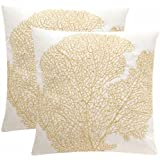 "Safavieh Spice Fan Coral Gold & Cream Indoor/Outdoor Throw Pillows (Set of 2), 20"" x 20"""