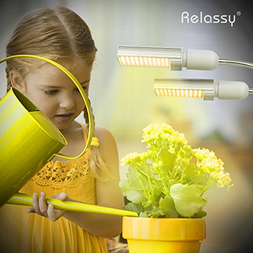 LED Grow Light for Indoor Plant, Relassy 45W Sunlike Full Spectrum Grow Lamp, Dual Head Gooseneck Plant Light with Replaceable Bulb, Double Switch, Professional for Seedling Growing Blooming Fruiting
