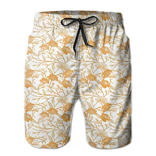 (Men Swim Trunks Beach Shorts,Abstract Drawing of Flowering Stems Blooming Buds Nature Coming Alive XXL)