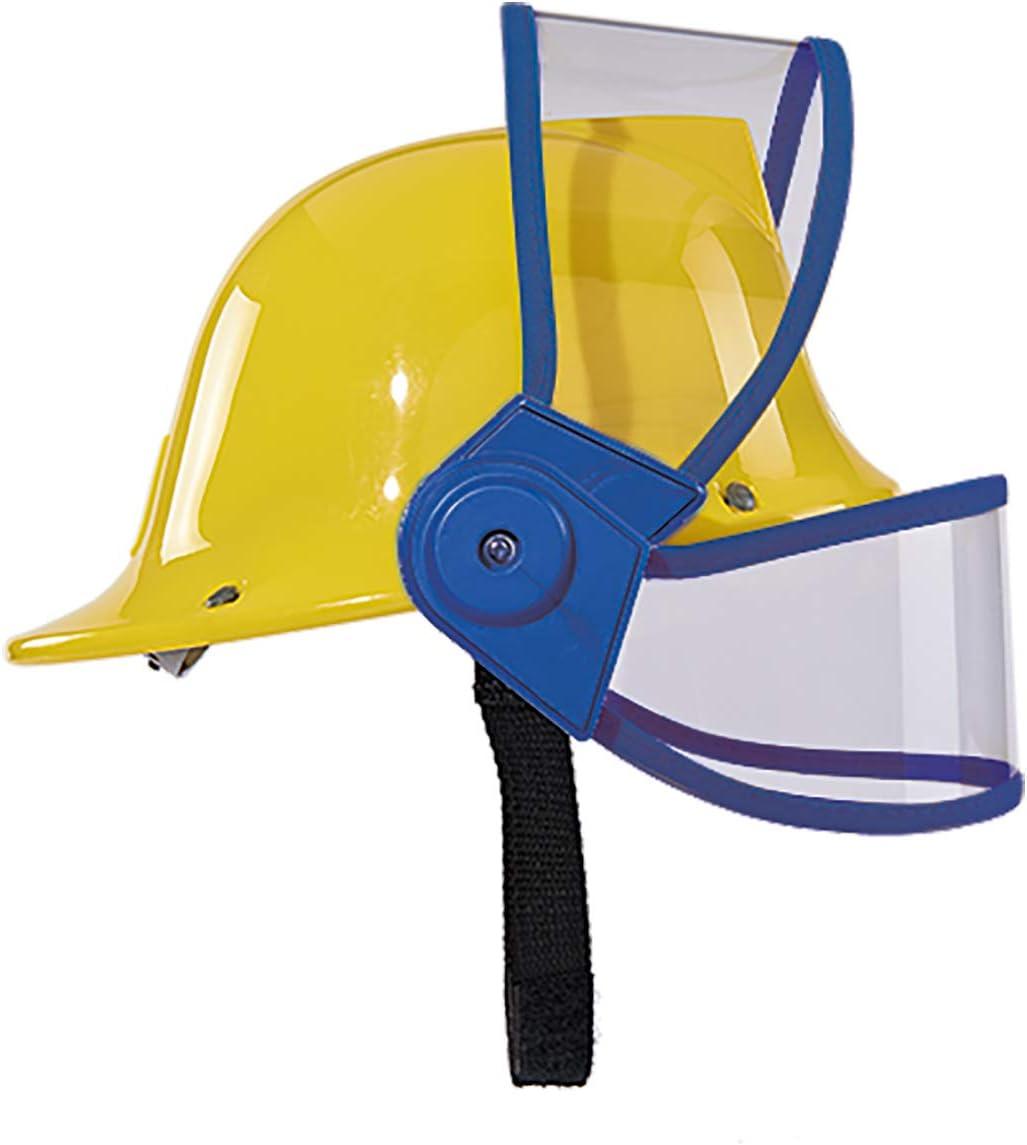 Kids Fireman Helmet Play Hat Fireman Sam Yellow Helmet Visor Microphone Play NEW
