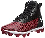 Under Armour Boys' Hammer Mid RM Jr. Football Shoe, Black (003)/Red, 5 M