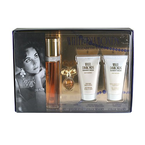 Elizabeth Taylor's White Diamonds 4 Pc Gift Set for Women Includes 1.7 Oz Cologne (EDT) Spray, .12 Oz Perfume (EDP), 1.7 Oz Body Lotion, and 1.7 Oz Body Wash ()