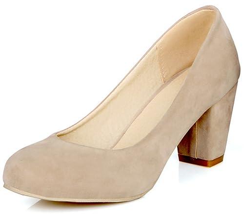 dc6f74cda22 Summerwhisper Women s Comfy Faux Suede Round Toe Low Cut Wide Width OL Work Shoes  Block Mid