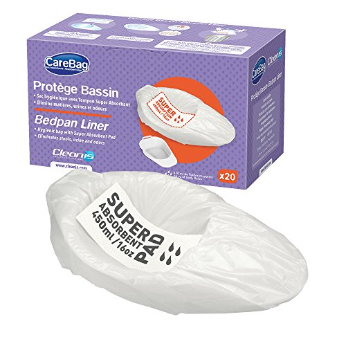 Commode Pan - The Original Carebag Commode & Bedpan Liners with Super Absorbent Pad, 60 Count (3 boxes of 20) - Medical Grade, Fits any Size Bedpan - Universal Liner Designed for Bedside Commode Buckets and Bedpans