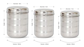 hazel stainless steel kitchen storage container silver 3 pieces - Kitchen Storage Containers