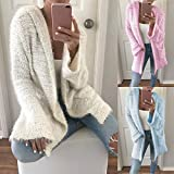 HHei_K Womens Winter Fall Warm Casual Solid Color Open Front Long Sleeve Hoodies Loose Pockets Cardigan Coat Outwear