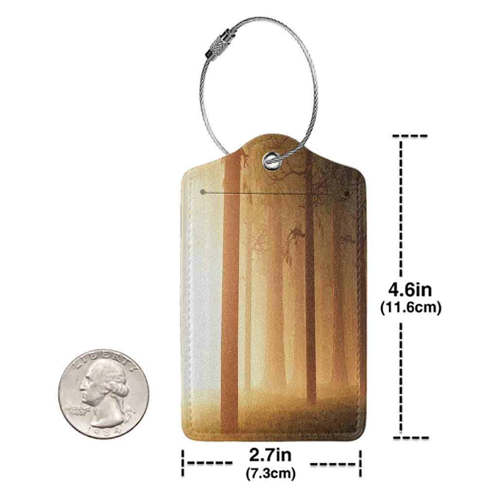 Waterproof luggage tag Magic Home Decor Foggy Mist Hazy Forest with Sun Beams and Rays Spiritual Woodland Spiritual Nature Design Soft to the touch Tan W2.7 x L4.6