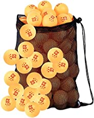 Ping Pong Balls Bulk (50 Count) for Professional Table Tennis 3-Star 40mm - with Mesh Carry Bag by Clinch Star