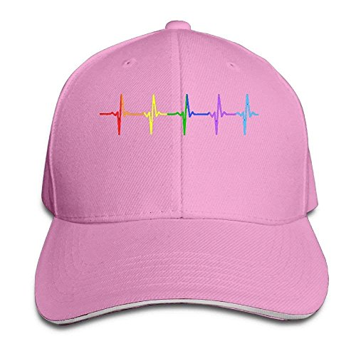 Rainbow Pulse Hearbeat LGBT Cap Unisex Low Profile Cotton Hat Baseball Caps Natural