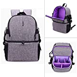 G-raphy Camera Case Waterproof Shockproof Camera Backpack Bag with Tripod Holder for DSLR, Mirrorless Camera, Flash or Other Accessories (Purple)