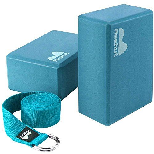 REEHUT Yoga Block (2 PC) and Metal D Ring Yoga Strap(1 PC) Combo Set, 9″ x 6″ x 4″High Density EVA Foam Block to Support and Deepen Poses, 8FT Yoga Belt for Stretching, General Fitness(turquoise)