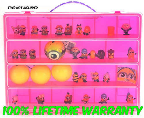Despicable Me Minions Carrying Case - Stores Dozens Of Mini Figures - Durable Toy Storage Organizers By Life Made Better - Pink