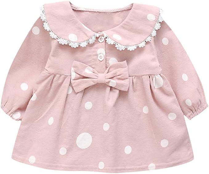 asdkfh Bebe Niña Vestido de Algodón a Lunares para Princesita ...