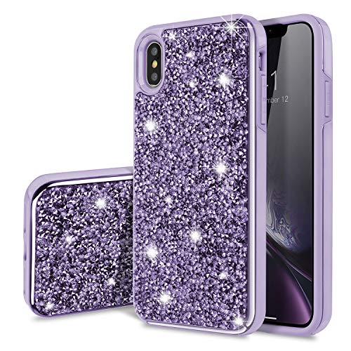 iPhone Xs Max Case,SQMCase Glitter Heavy Duty Rugged Hybrid Soft TPU Inner + Hard PC Outer with Crystal Bling Diamond Electroplated Frame Protective Case for iPhone Xs Max (6.5