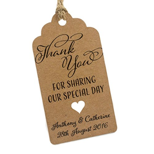 Summer-Ray 50pcs Personalized Mini Royale Brown Kraft Wedding Favor Gift Tags Thank You for Sharing Our Special Day (Personalized Favor Tags)