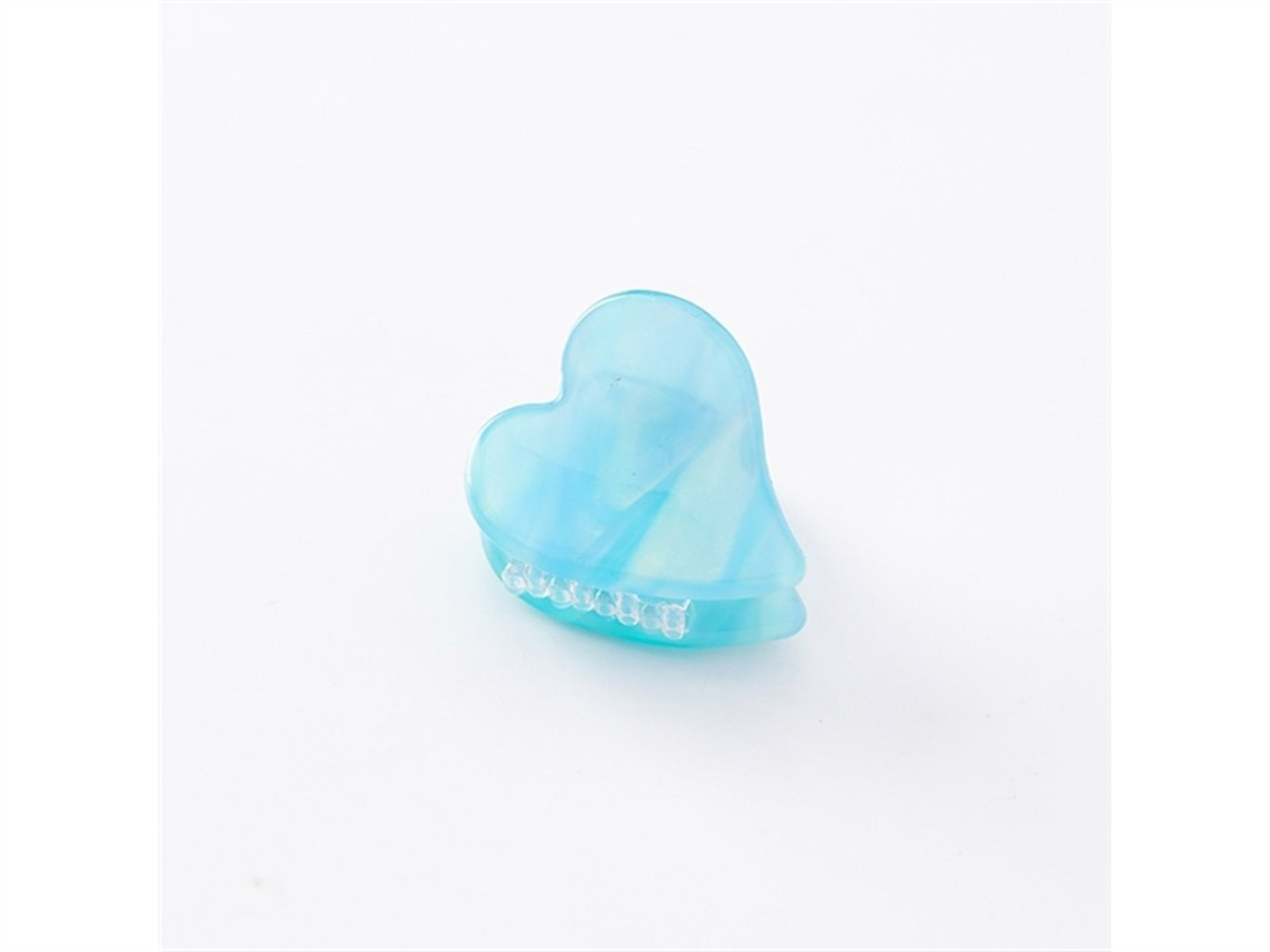Gelaiken Love Heart-shaped Marbled Printing Mini Claw Clips Mini Jaw Clips(Light Blue) for Different Hair Style