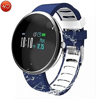 CatShin Reloj Inteligente Fitness Tracker - Monitor de Ritmo cardíaco/Monitor de presión Arterial/Pantalla a Color Pulsera Inteligente con Monitor de ...