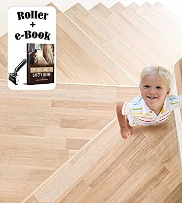 "Clear Stair Treads Non-Slip with Roller & eBook KIT (15 Pack) Pre Cut Transparent Step Strips 24""x4"" Anti Slip Tape Indoor & Outdoor Safety for Kids Elders & Dogs Removable Rubber Skid Stair Grips"