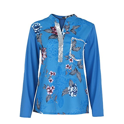 - Plus Size Womens Tops,Toimoth Women Long Sleeve V-Neck Print Sequined Blouse Pullover Tops Shirts(Dark Blue,M)