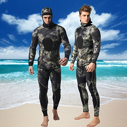 Isafish Camo Spearfishing Wetsuits for Man Two-Pieces Design Premium Neoprene 3mm with Super Stretch Armpit for Diving Snorkeling Swimming Fishing Mimetic Camouflage Freediving Full Wetsuit Size S