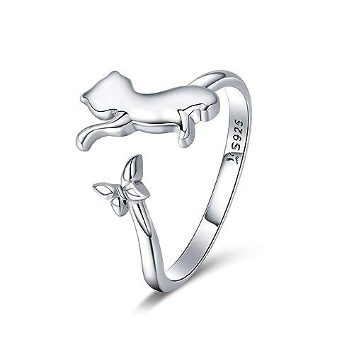 Chengmen Rings Jewellery Anillo de Plata de Ley 925 con diseño de Gato pequeño, tamaño Ajustable, Estilo Sencillo para Mujeres y niñas: Amazon.es: Joyería
