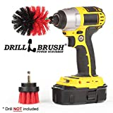 2 Piece Mini Size Red Stiff Bristle Rotary Cleaning Drillbrushes for Cleaning Siding, Brick, Stone, Fireplaces, Decks, Gutters, and More by Drillbrush