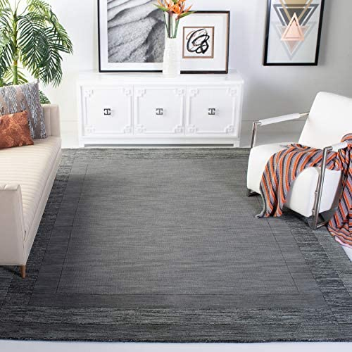 Safavieh Impressions Collection IM821B Handmade Charcoal and Blue Premium Wool Area Rug 8'3″ x 11'