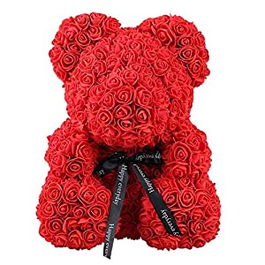 Artificial Flowers Dolls,Rose Bear Toy Girls Flower Birthday Valentine Wedding Party Doll Gift (Red 119