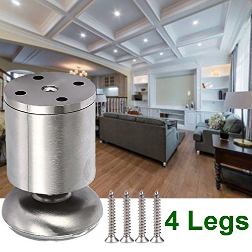 Steel Chrome Table (4x Qrity Cabinet Stainless Steel Legs Kitchen Feet Worktop TV Desk Table Legs Furniture Sofa Legs - Rubber Mat - Safe & Silent 50 x 80mm)
