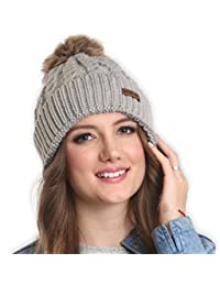 Faux Fur Pom Pom Beanie - Stay Warm & Stylish - Thick, Soft & Chunky Cable Knit Beanie Hats for Women & Men - Serious Beanies for Serious Style