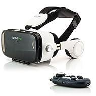 Zanasta VR Casque Lunettes Réalité Virtuelle 3D + Bluetooth Controller Headset Universal jeux vidéo réglable pour Apple iPhone, Samsung Galaxy, Sony Xperia et plus d'autres